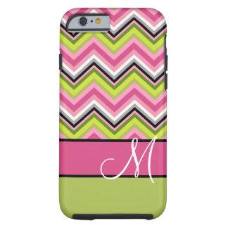 Hot Pink Lime Chevron Pattern Custom Monogram Tough iPhone 6 Case