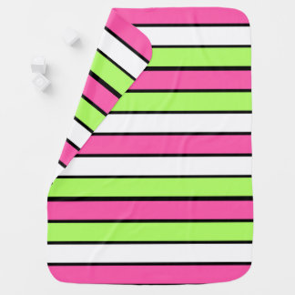 Hot Pink, Lime Green, Black and White Stripes Baby Blanket