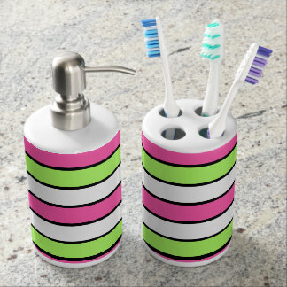 Hot Pink, Lime Green, Black and White Stripes Soap Dispenser And Toothbrush Holder