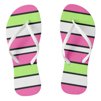 Hot Pink, Lime Green, Black and White Stripes Thongs