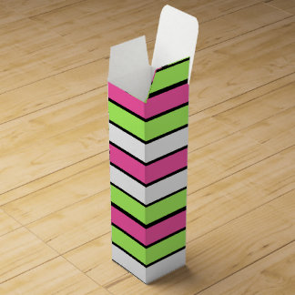 Hot Pink, Lime Green, Black and White Stripes Wine Box