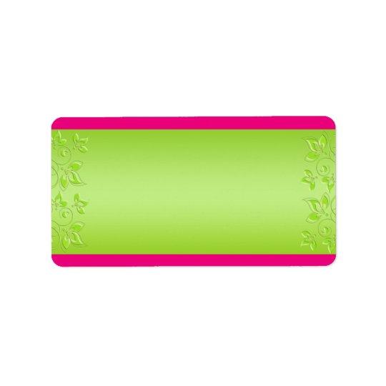 Hot Pink, Lime Green Floral BLANK Address Label