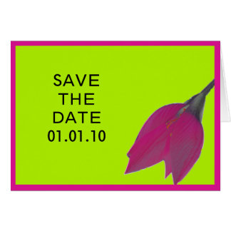 Hot Pink & Lime Green Flower Save the Date Note Greeting Card