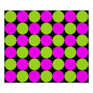 Hot Pink & Lime Green Polka Dots Posters