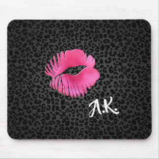 Hot Pink Lipgloss Kiss Black Leopard With Monogram Mouse Pad