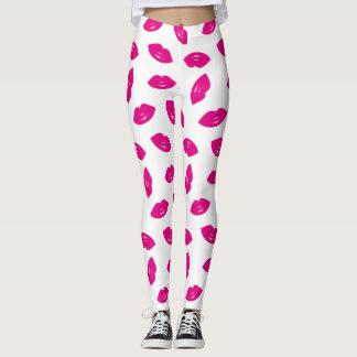 Hot Pink Lips Pattern Chic Lipstick Print Leggings