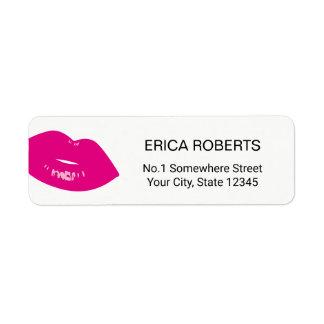 Hot Pink Lips Print Makeup Artist Beauty Salon Return Address Label