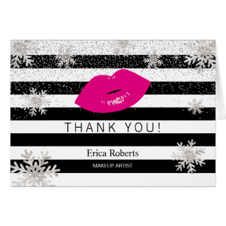 Hot Pink Lips Snowflakes Modern Stripes Thank You Card