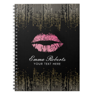 Hot Pink Lips Trendy Black & Gold Confetti Notebook