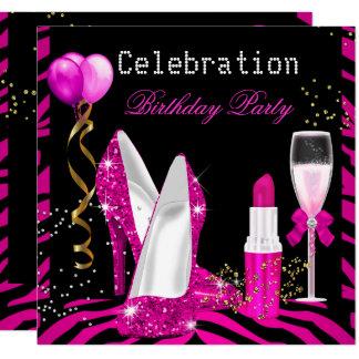 Hot Pink Lipstick Glitter Zebra Birthday Party Card