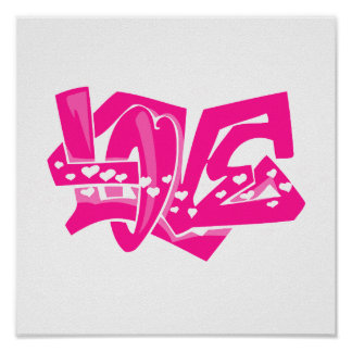 Hot Pink Love Graffiti Posters