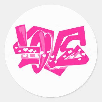 Hot Pink Love Graffiti Stickers