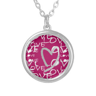 Hot Pink Love Round Pendant Necklace