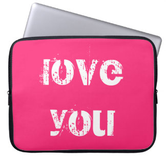 Hot Pink Love You Laptop Sleeve