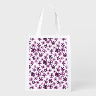 Hot Pink Lucky Shamrock Clover Reusable Grocery Bag