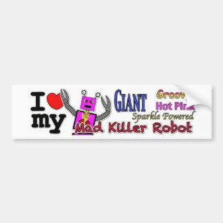 Hot Pink Mad Killer Robot Bumper Sticker