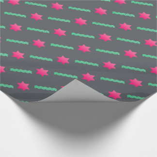 Hot Pink Magen David, Mint Streamers on Dark Gray