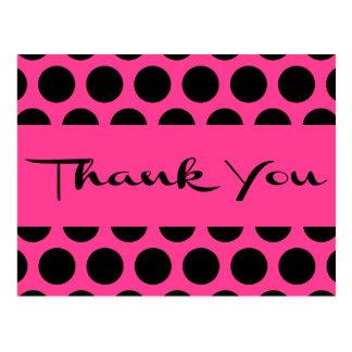 Hot Pink Magenta And Black Thank You Polka Dots Postcard