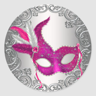 Hot Pink Mask Masquerade Envelope Seal Favor