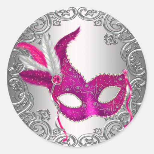 Hot Pink Mask Masquerade Envelope Seal Favor Round Stickers