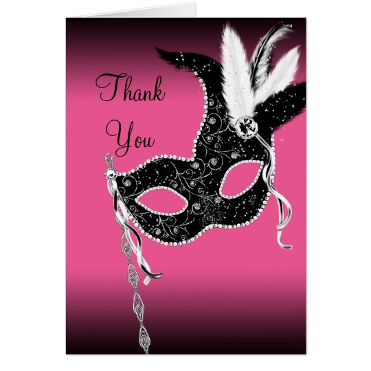 Hot Pink Masquerade Party Mask Thank You Cards