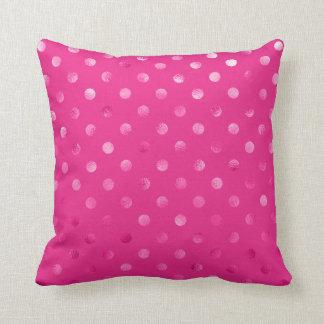 Hot Pink Metallic Faux Foil Polka Dot Swiss Dots Cushion