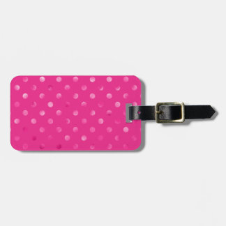 Hot Pink Metallic Faux Foil Polka Dot Swiss Dots Luggage Tag