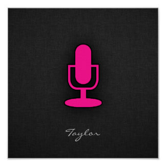 Hot Pink Microphone Print