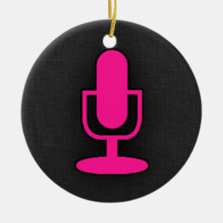Hot Pink Microphone Round Ceramic Decoration