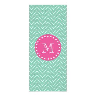 Hot Pink, Mint Green Chevron | Your Monogram 10 Cm X 24 Cm Invitation Card
