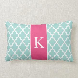 Hot Pink Mint Green Moroccan Custom Monogram Throw Pillow