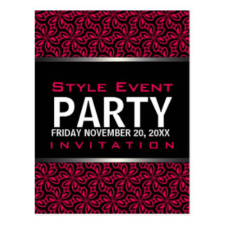 Hot Pink Modern Diva Office Party Invitation Cards Postcard