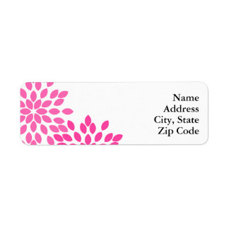 Hot Pink Modern Floral Pattern Return Address Label