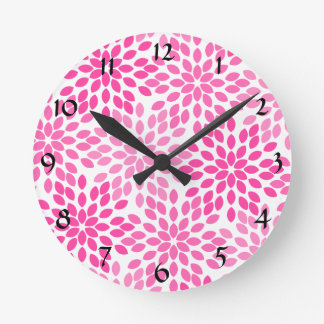Hot Pink Modern Floral Pattern Wall Clock