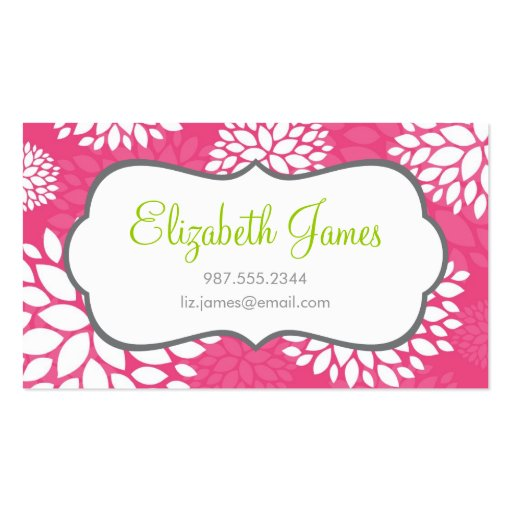 Hot Pink Modern Flowers Business Card Template