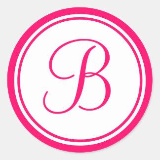 Hot Pink, Monogram B Wedding Label Round Sticker