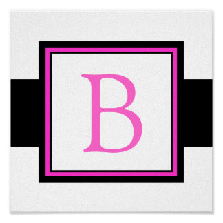 Hot Pink Monogram Initial Girl's Room Decor Poster