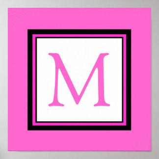 Hot Pink Monogram Initial Girl's Room Decor Poster