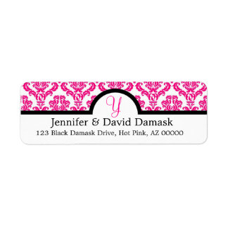 Hot Pink Monogram Y Damask Wedding Return Address Label