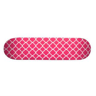 Hot Pink Moroccan Quatrefoil Skate Decks