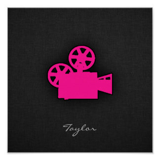 Hot Pink Movie Camera Poster