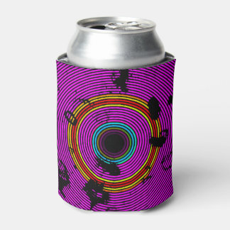 Hot Pink Multicolor Vinyl Disc Texture Pattern Can Cooler
