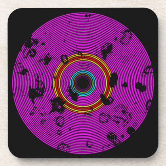 Hot Pink Multicolor Vinyl Disc Texture Pattern Coaster