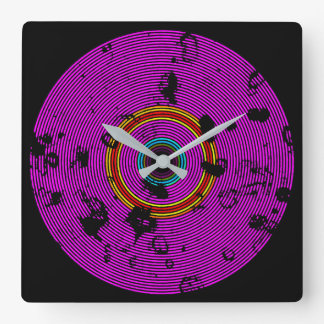 Hot Pink Multicolor Vinyl Disc Texture Pattern Square Wall Clock