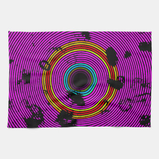 Hot Pink Multicolor Vinyl Disc Texture Pattern Tea Towel