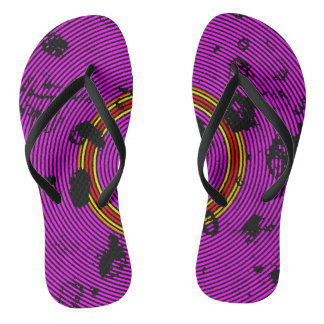 Hot Pink Multicolor Vinyl Disc Texture Pattern Thongs