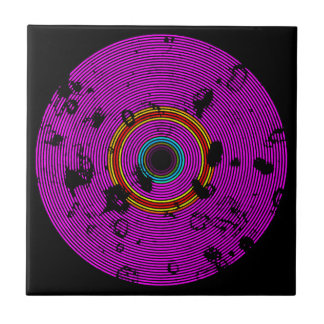 Hot Pink Multicolor Vinyl Disc Texture Pattern Tile