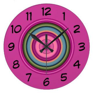 Hot Pink Multicolored Circular Pattern Large Clock