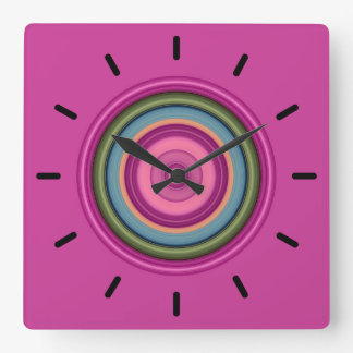 Hot Pink Multicolored Circular Pattern Square Wall Clock