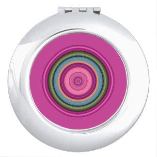 Hot Pink Multicolored Circular Pattern Travel Mirrors